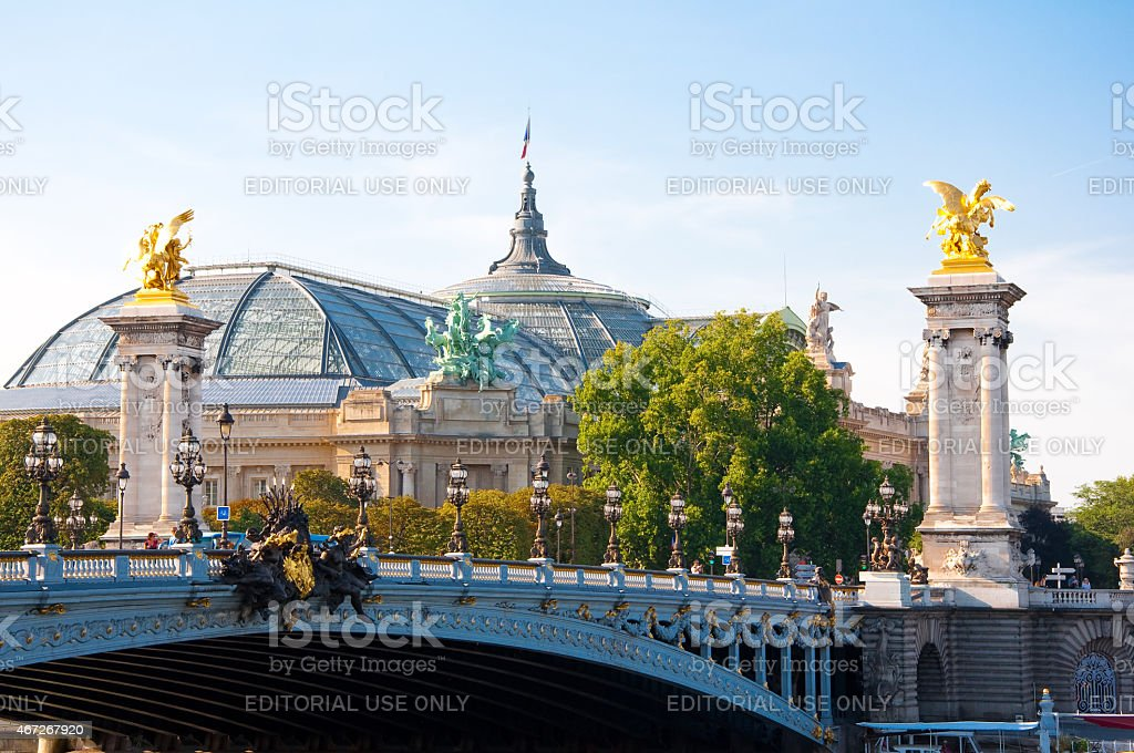 Pont Alexandre III with the Petit Palais on the background.Paris. stock photo