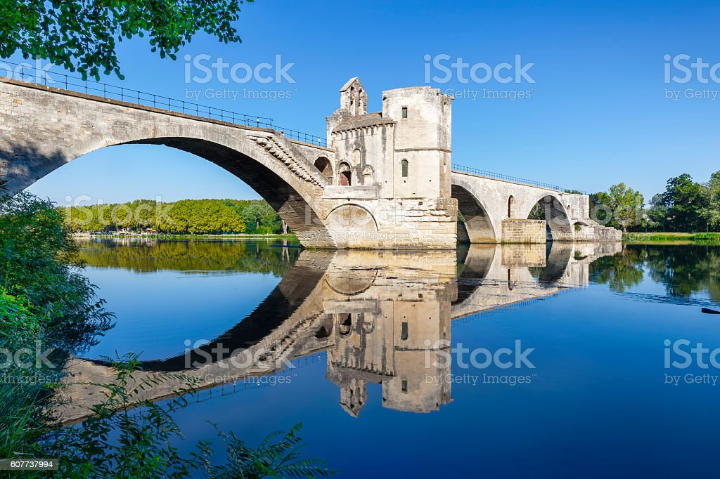 Pont d'Avignon and green foliage stock photo