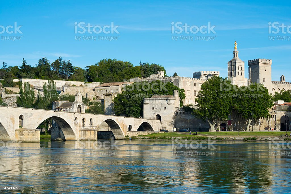 Pont d'Avignon and Rhone River in Avignon, France stock photo