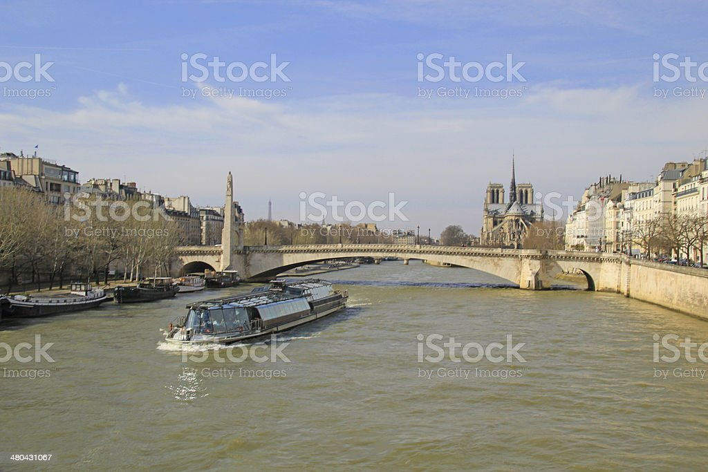 Pont de la tournelle in Paris, France. stock photo