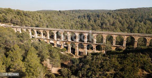 Pont de les Ferreres or Devil Bridge Aqueduct, historical monument and world heritage, Tarragona, Spain