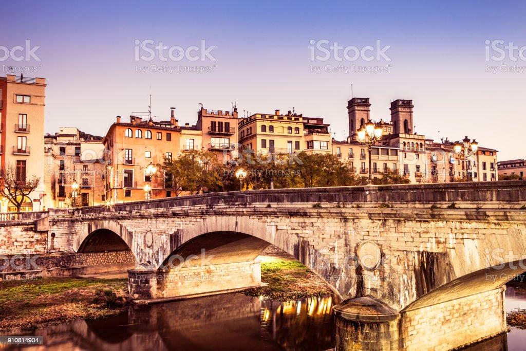 Pont de Pedra - Girona stock photo