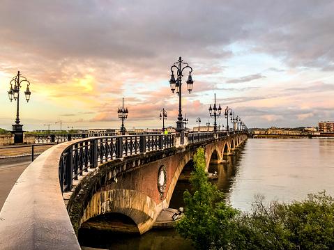 Pont de Pierre, old and famous bridge in Bordeaux. The first bridge over Garonne river