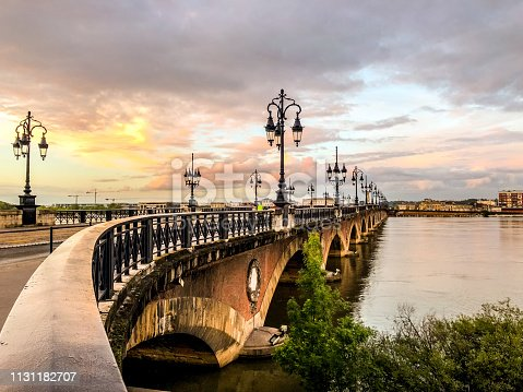 Pont de Pierre, old and famous bridge in Bordeaux. The first bridge over Garonne river