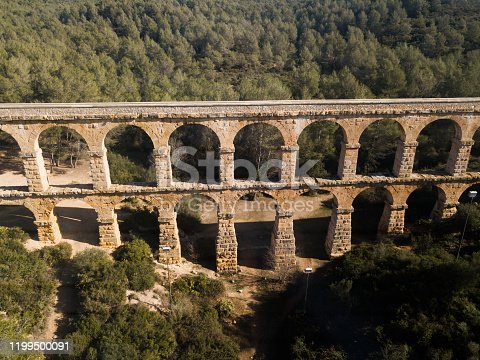 View of Pont del Diable with two levels of arches, antique Roman aqueduct near Spanish town of Tarragona