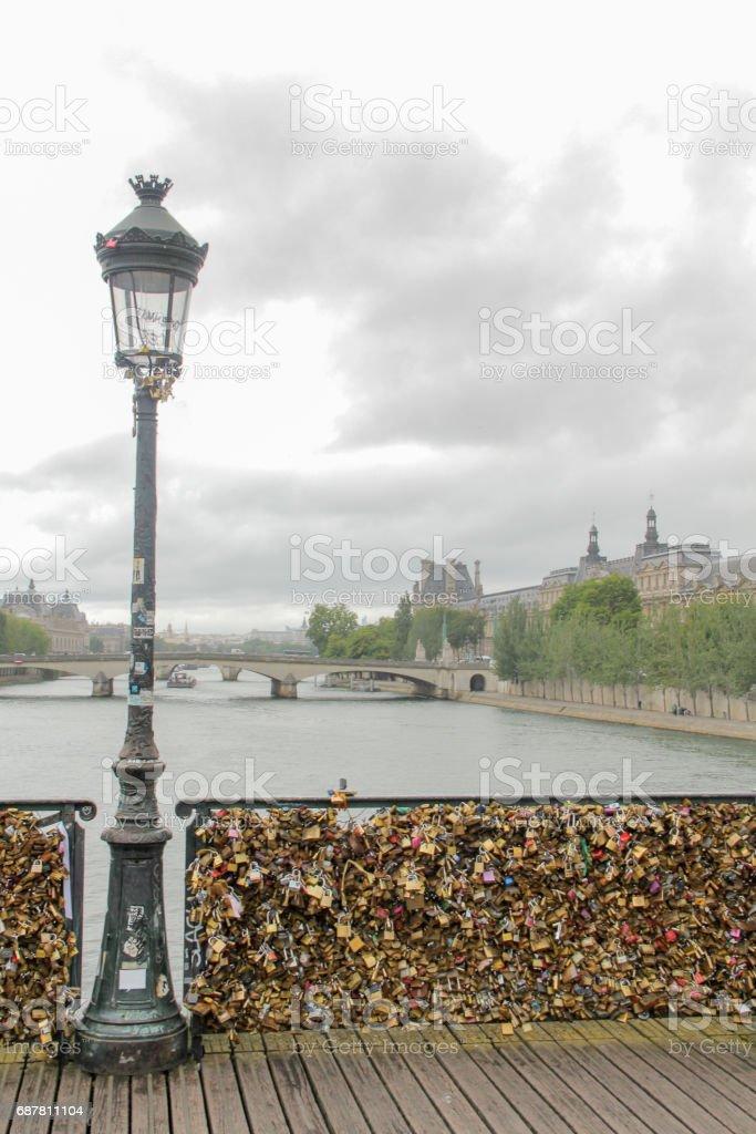 Pont des Arts over the Seine river, France stock photo