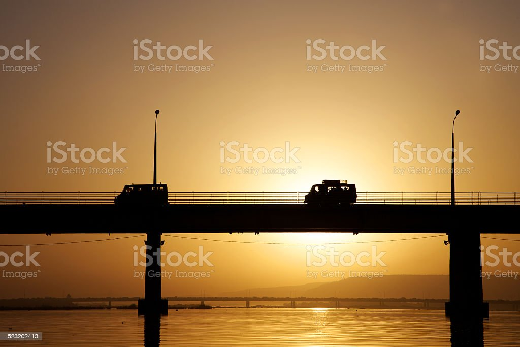 Pont des martyrs Bridge during sunset stock photo
