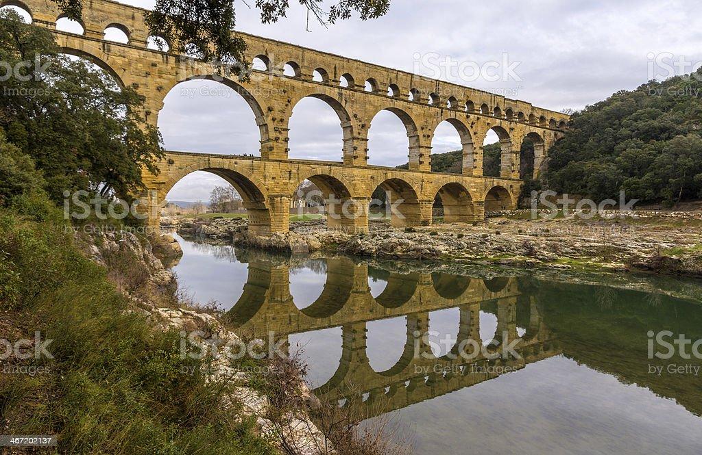 Pont du Gard, ancient Roman aqueduct, UNESCO site in France stock photo