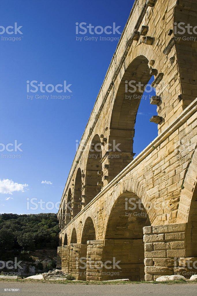 Pont du Gard aqueduct in France royalty-free stock photo
