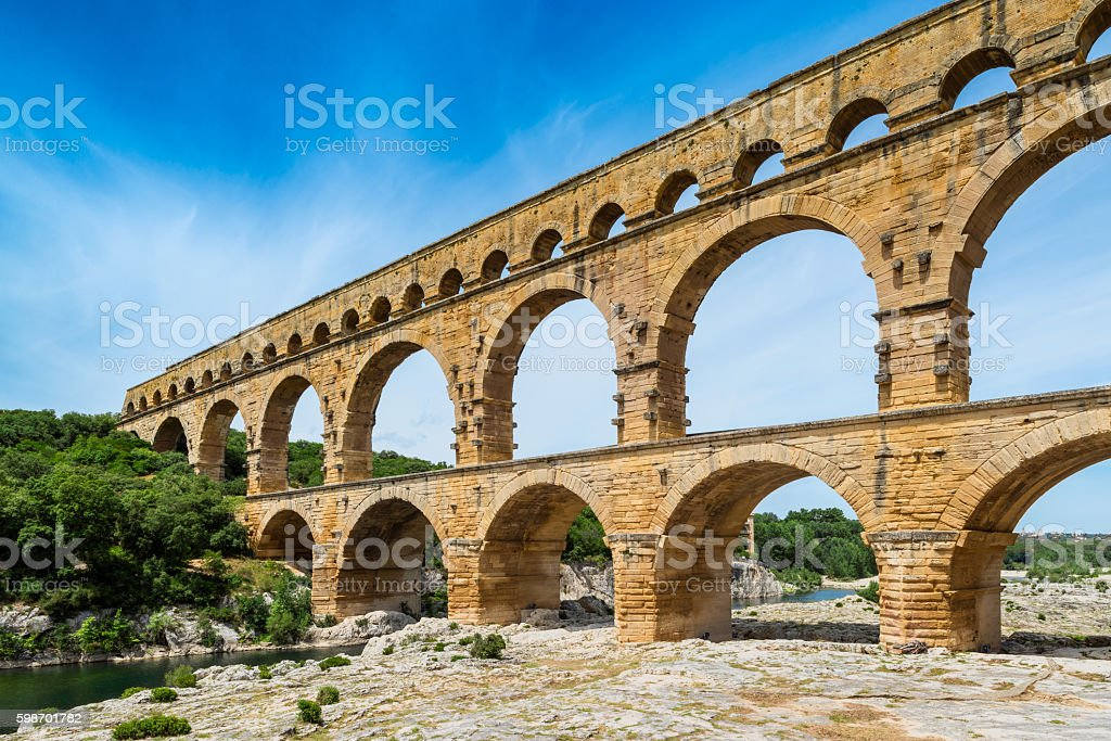 Pont Du Gard aqueduct in Southern France stock photo