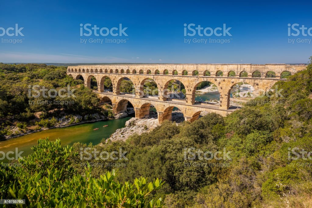 Pont du Gard is an old Roman aqueduct in Provence, France stock photo