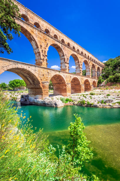 Pont du Gard, Provence in France stock photo