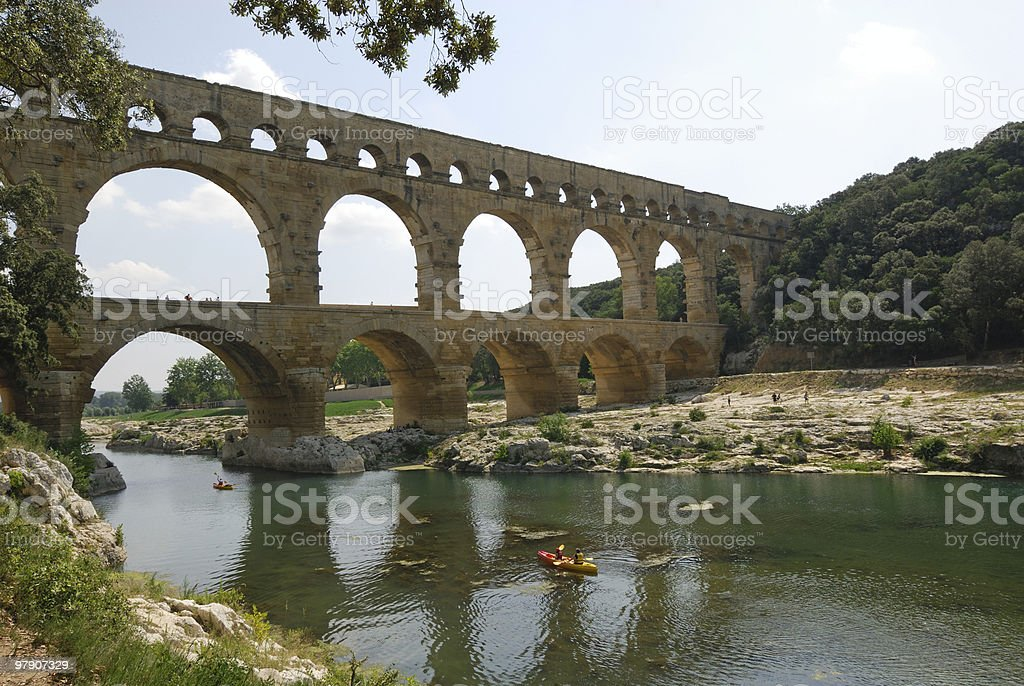 Pont du Gard (France) - Roman Aqueduct royalty-free stock photo