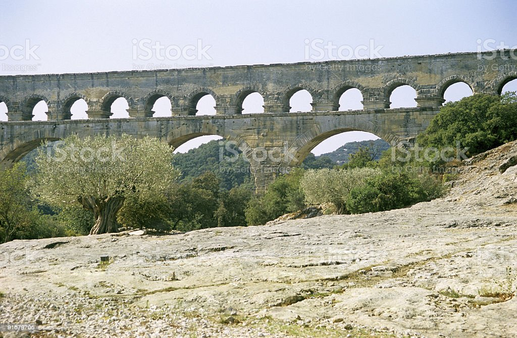 Pont Du Gard with Olive Tree royalty-free stock photo