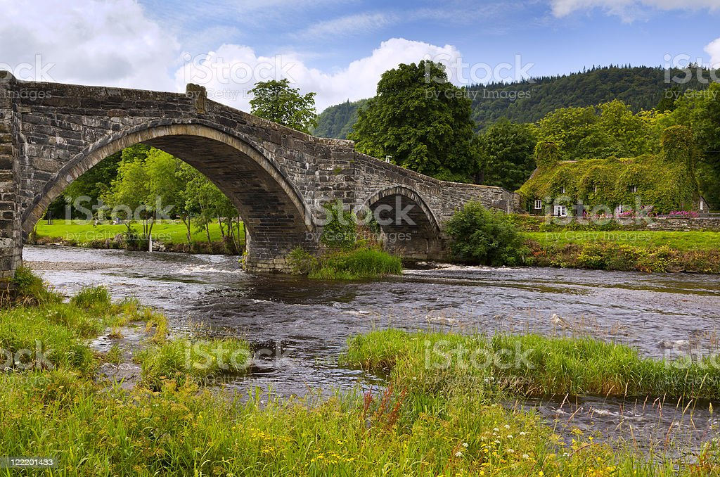 Pont Fawr bridge and old cottage at Llanrwst stock photo