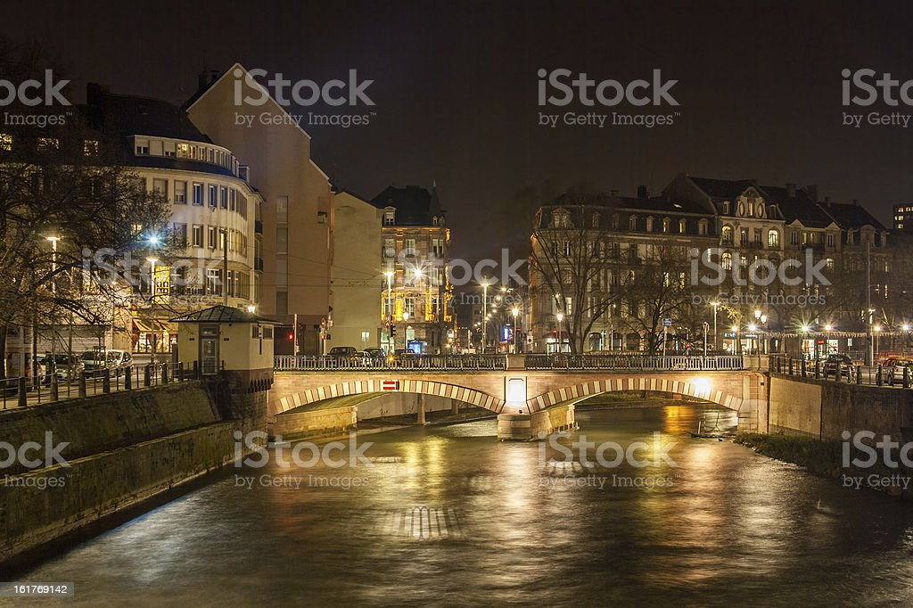 Pont National over Ill river in Strasbourg - Alsace, France royalty-free stock photo