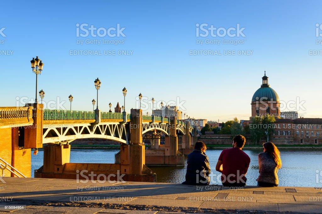 Pont Saint Pierre in Toulouse stock photo