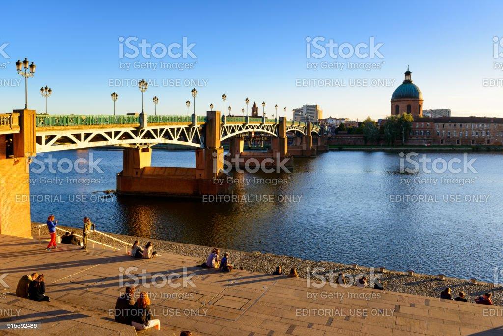 Pont Saint Pierre of Toulouse stock photo