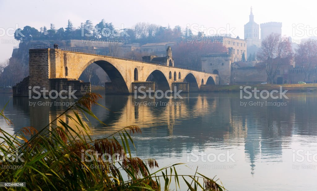 Pont Saint-Benezet and Avignon Cathedral in morning, France stock photo