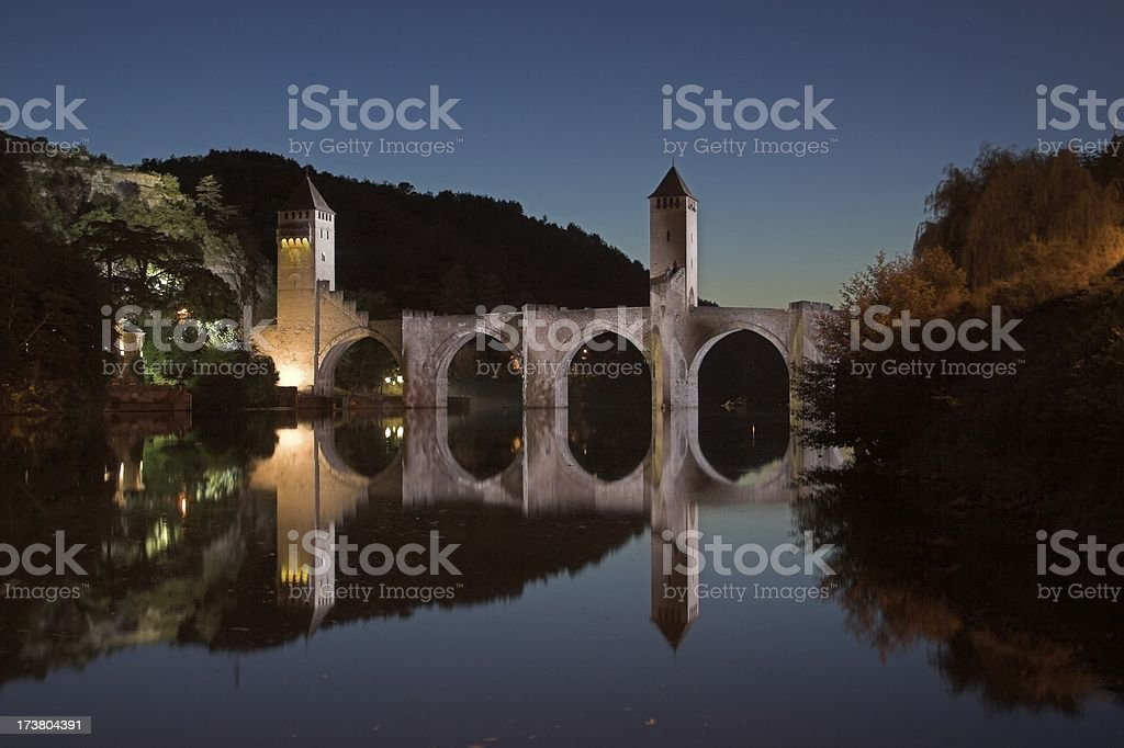 Pont Valentre at night royalty-free stock photo
