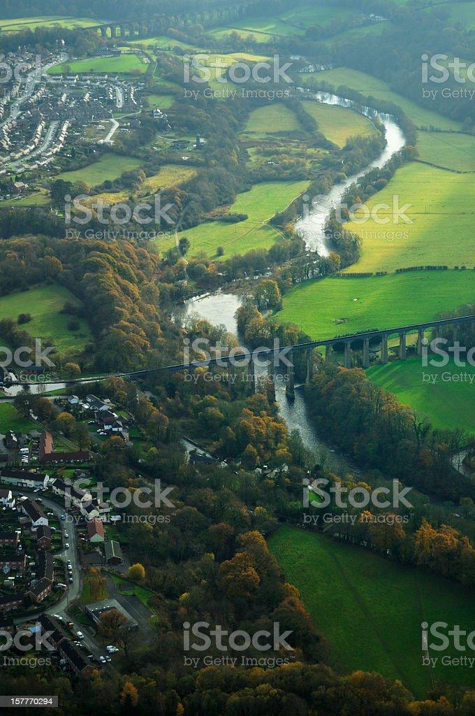 Pontcysyllte Aqueduct Aerial Portrait stock photo