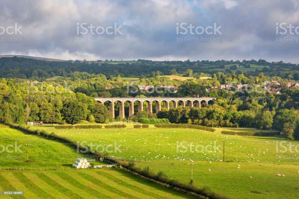 Pontcysyllte aqueduct in North Wales stock photo