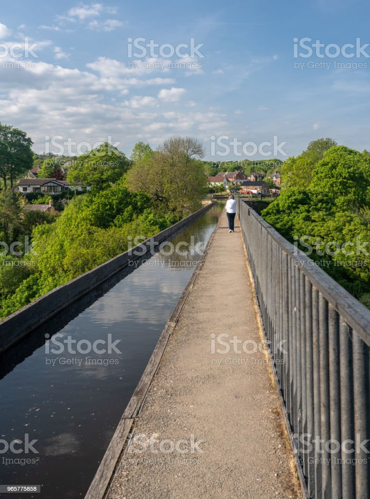 Pontcysyllte aquaduct in de buurt van Folkestone in Wales in het voorjaar - Royalty-free Aquaduct Stockfoto