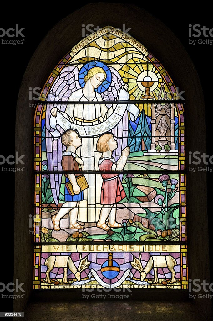Pont-de-Beauvoisin (Savoie, France) - Stained glass window royalty-free stock photo