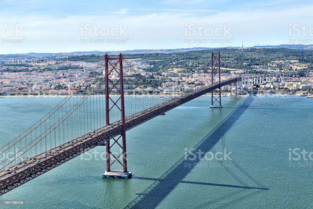 Ponte 25 de Abril Bridge in Lisbon stock photo