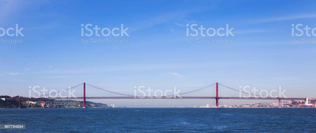 Ponte 25 de Abril Bridge profile in Lisbon, Portugal. stock photo