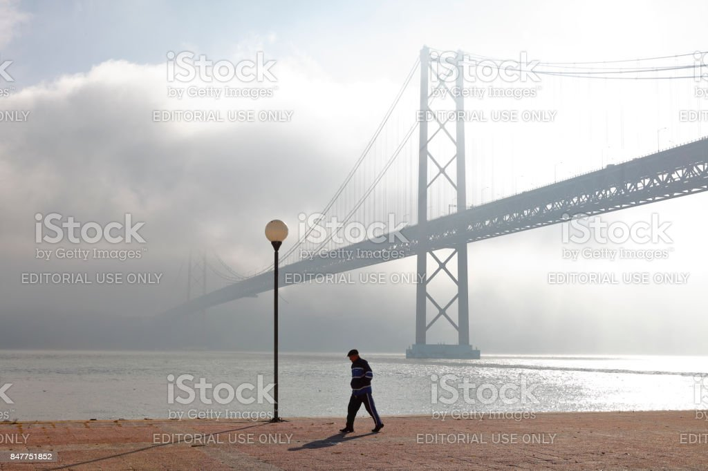 Ponte 25 de Abril, Lisbon, Portugal stock photo