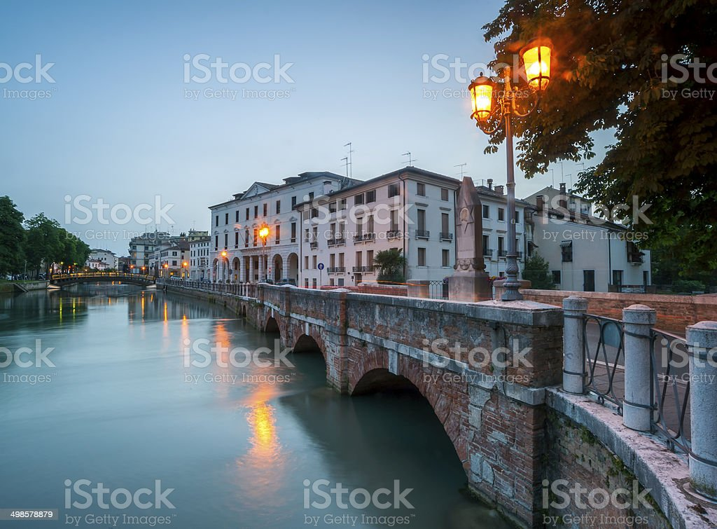 ponte dante at night treviso italy stock photo