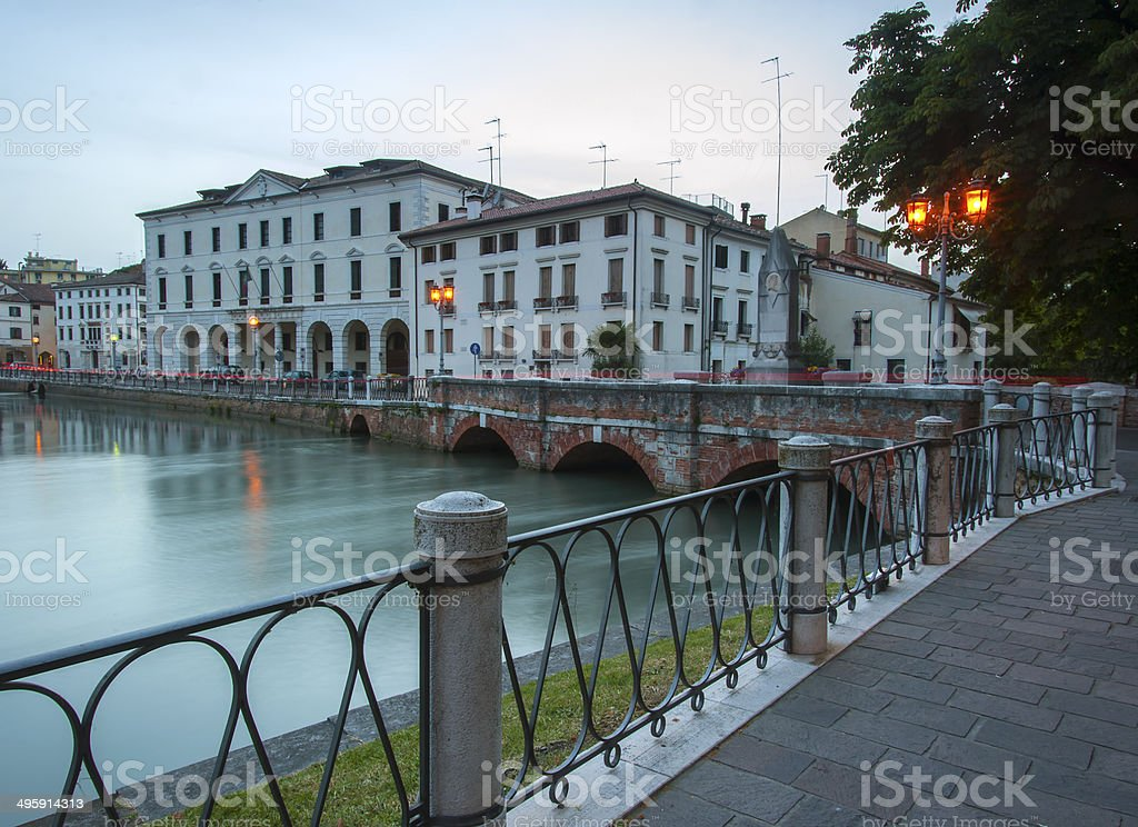 ponte dante at night, treviso stock photo