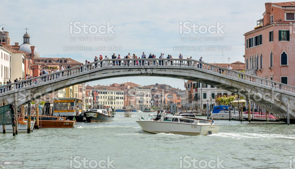 Ponte degli Scalzi and the Grand Canal in Venice, Italy stock photo