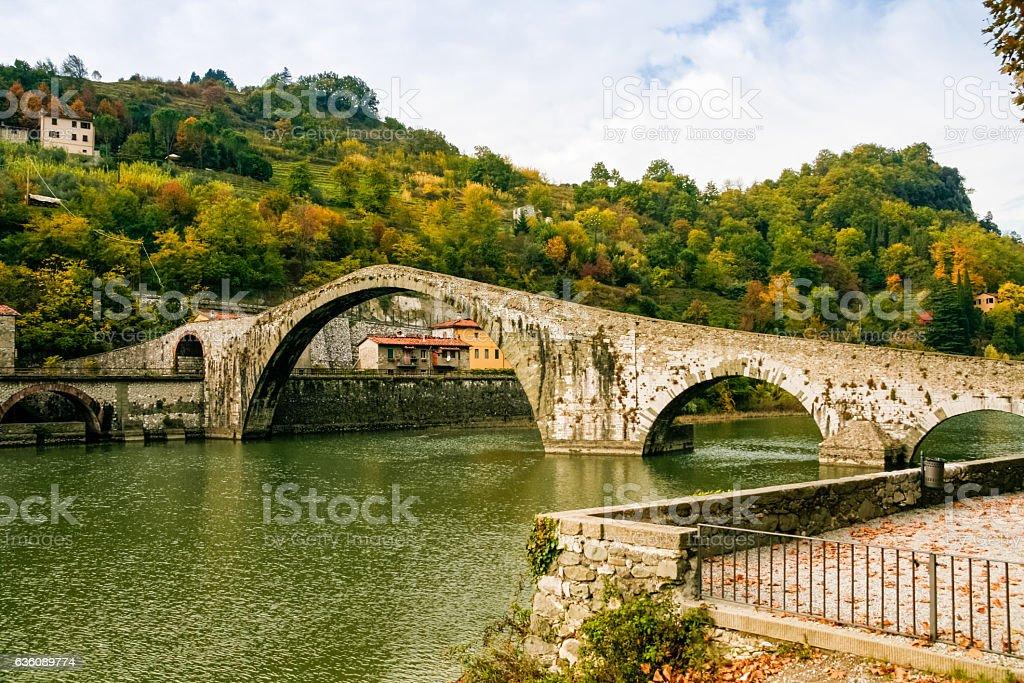 Ponte della Maddalena in Italy stock photo