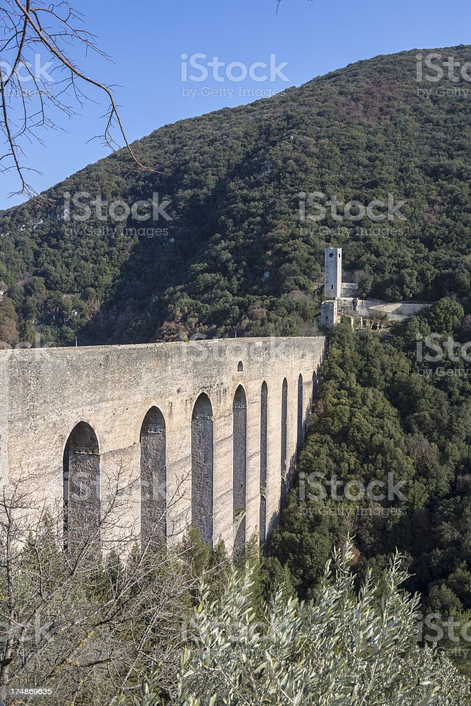 Ponte delle Torri, Spoleto Umbria Italy stock photo