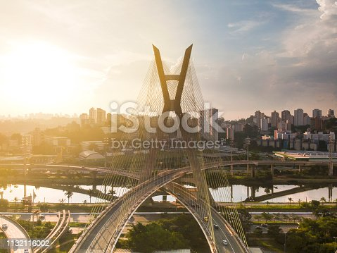 Ponte Octavio Frias de Oliveira, famous cable stayed (Ponte Estaiada) bridge at Sao Paulo, Brazil