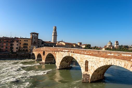 Ponte Pietra (Stone bridge) - I century B.C. - the oldest Roman monument in Verona, UNESCO world heritage site, and the Adige river, Veneto, Italy, Europe