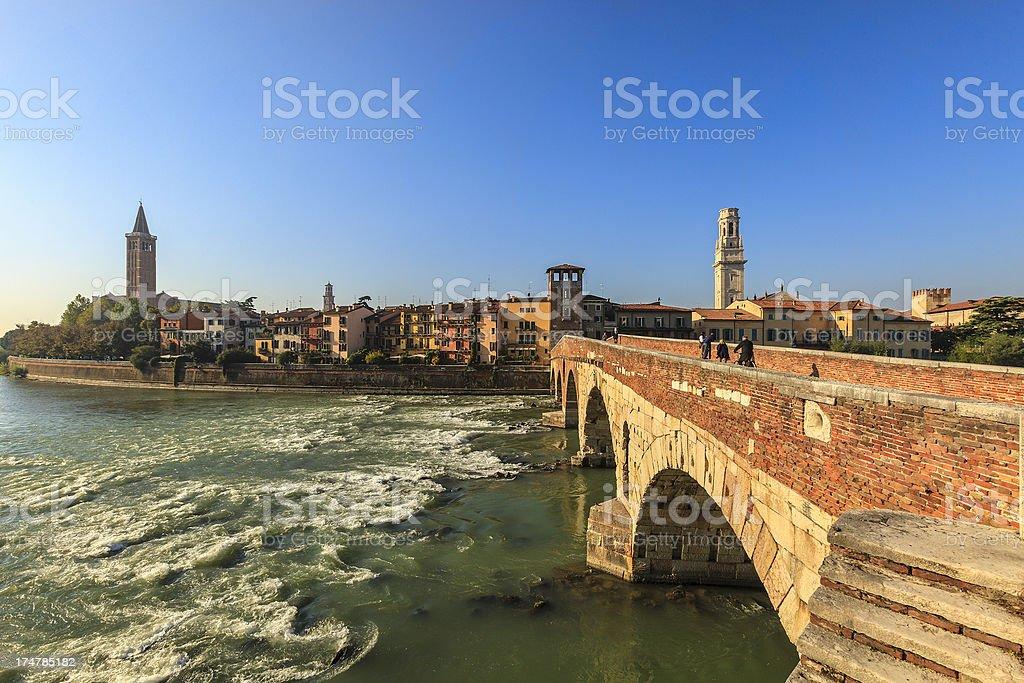 Ponte Pietra and Verona, Italy royalty-free stock photo