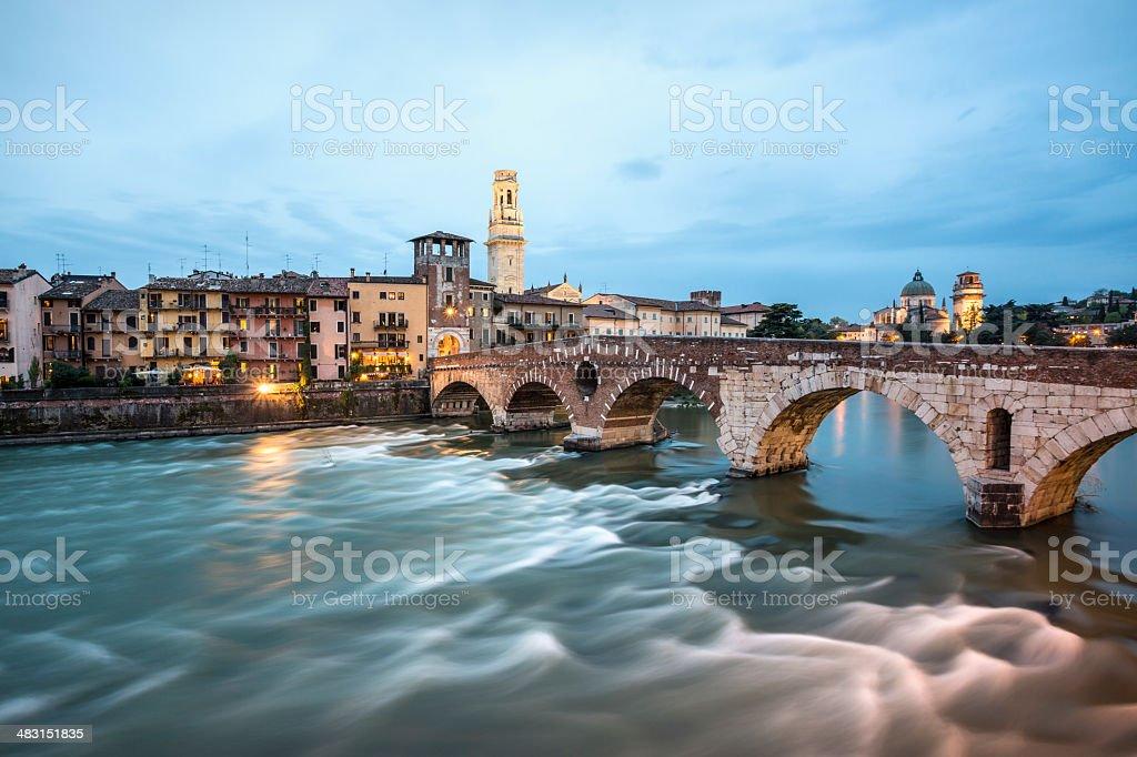 Ponte Pietra at dusk, Verona Italy royalty-free stock photo