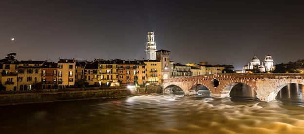 Ponte Pietra (Stone bridge) - 1st century B.C., Adige river, the church of San Giorgio in Braida and the bell tower of the cathedral of Verona, Veneto, Italy, Europe