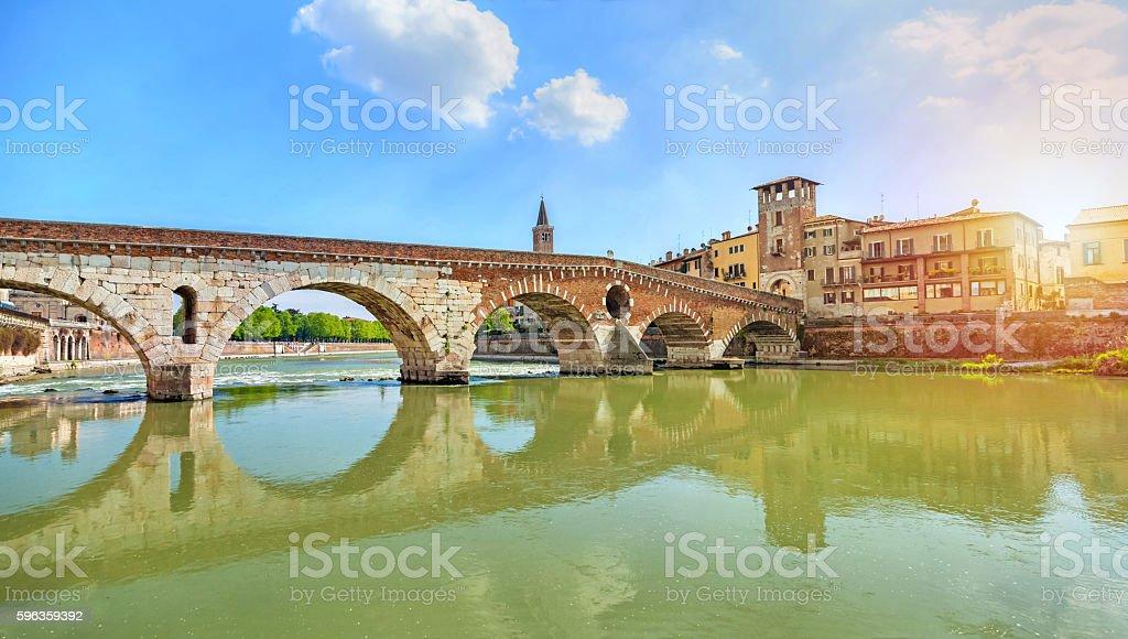 Ponte Pietra bridge on sunset, Verona royalty-free stock photo