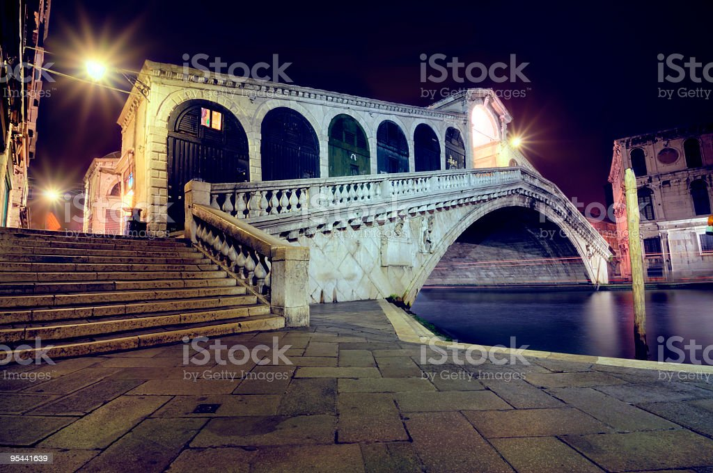 Ponte Rialto Bridge at Night royalty-free stock photo