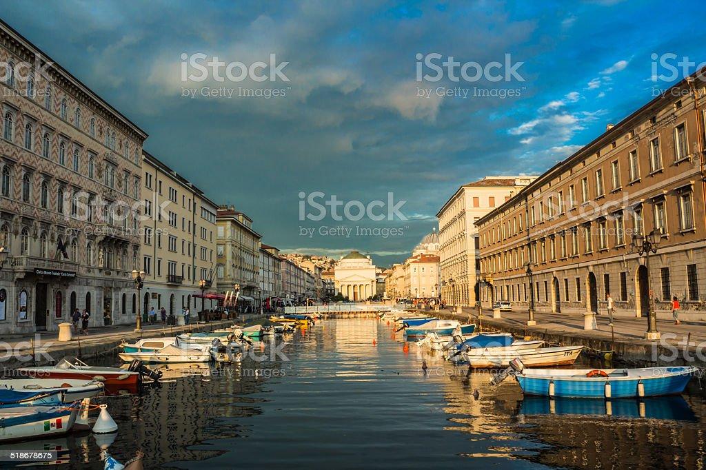 Ponte Rosso view in Trieste stock photo