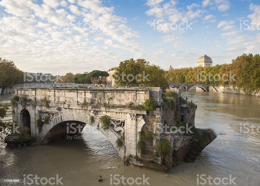 Ponte Rotto and a flooded Tiber River, Rome Italy stock photo