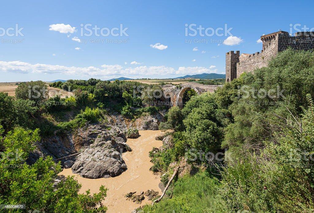 Ponte Rotto and Fiora River, Vulci Lazio Italy stock photo