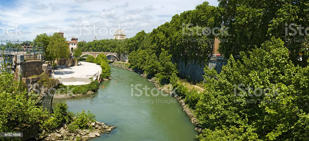 Ponte Rotto, Isola Tiberina, Roma royalty-free stock photo