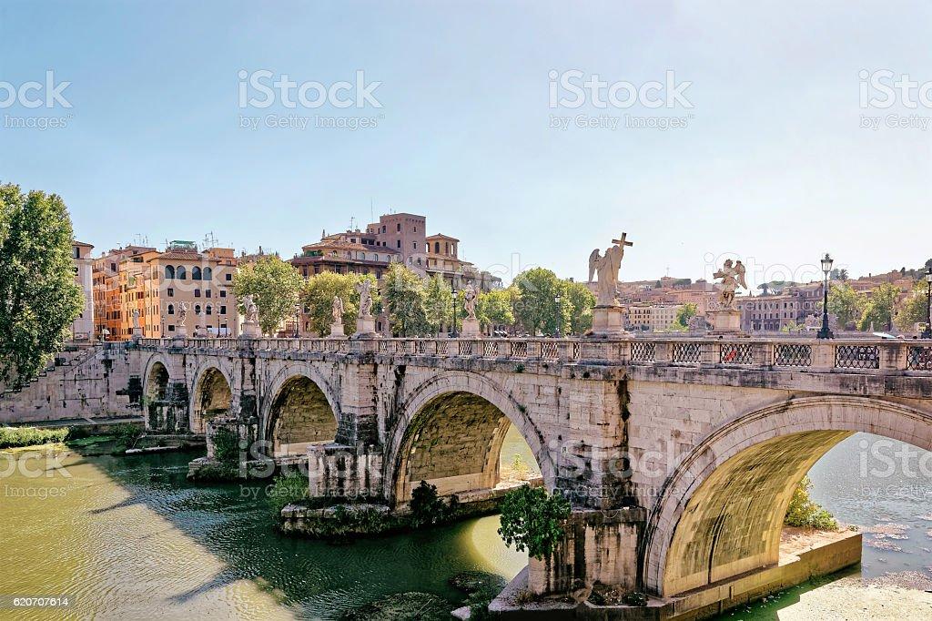 Ponte Sant Angelo Bridge in Rome in Italy stock photo
