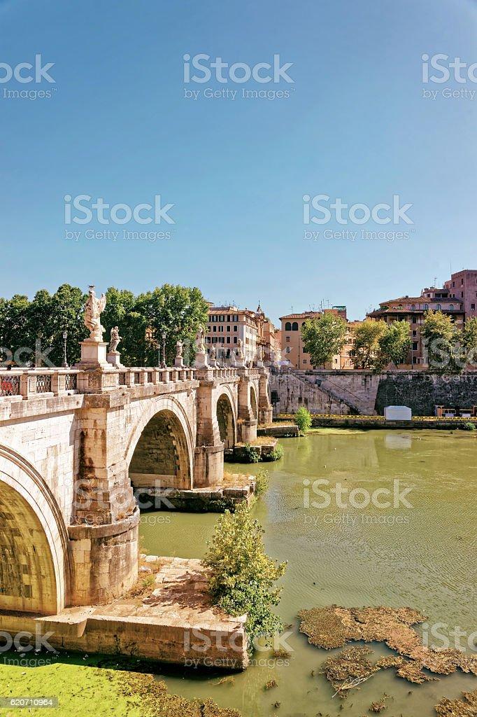 Ponte Sant Angelo Bridge in Rome of Italy stock photo