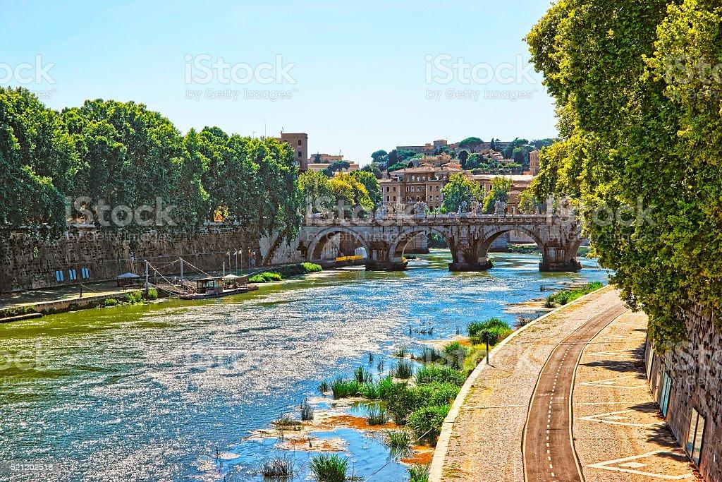 Ponte Sant Angelo Bridge over Tiber River stock photo